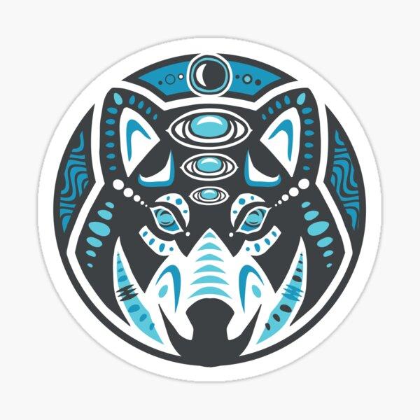 Wolf Shamanic Animal Emblem - Grey Blue Sticker