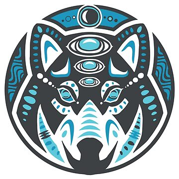 Wolf Shamanic Animal Emblem - Grey Blue by Quire