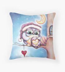 Cute Sleepy Owls in the Snow Throw Pillow