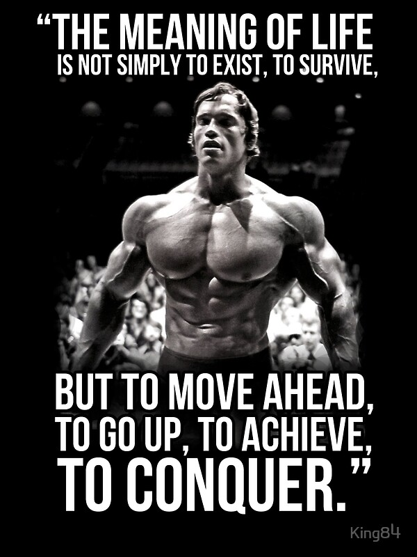 Arnold schwarzenegger arnie conquer quote greeting cards by king84 arnold schwarzenegger arnie conquer quote by king84 bookmarktalkfo Image collections