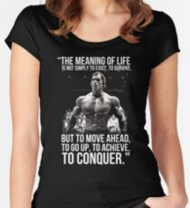 Arnold Schwarzenegger Arnie Conquer Quote Women's Fitted Scoop T-Shirt