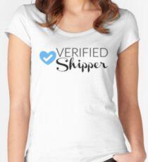 Verified Shipper - Blue Heart Women's Fitted Scoop T-Shirt