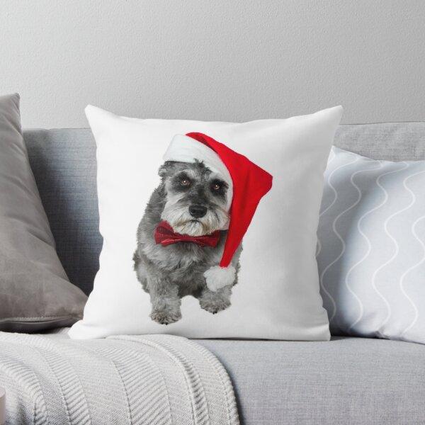 Schnauzer Santa Throw Pillow