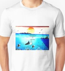 Inspirational Life Challenge Quote With Underwater Scene Painting T-Shirt