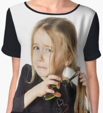 Cute little girl with scissors. Self hairdresser, isolated on white background Women's Chiffon Top
