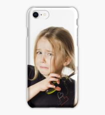 Cute little girl with scissors. Self hairdresser, isolated on white background iPhone Case/Skin
