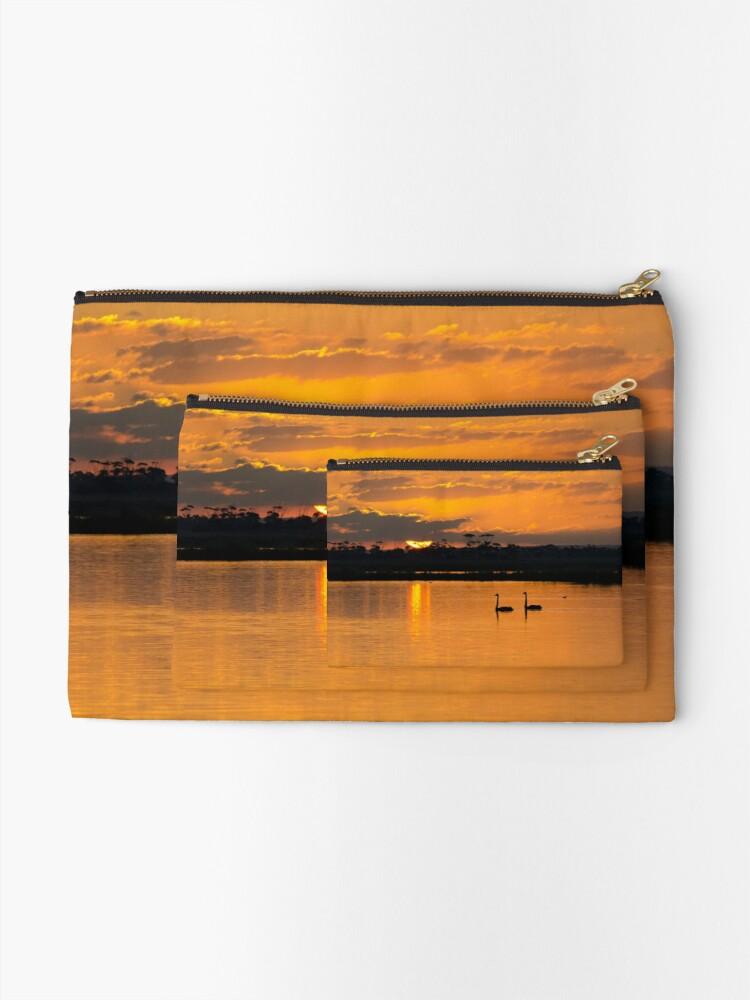 Alternate view of Sunset over Lake Borrie Zipper Pouch