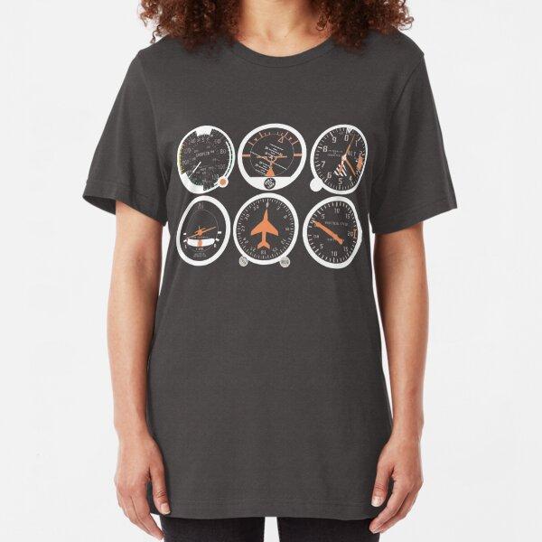 Basic Six Flight Instruments Slim Fit T-Shirt