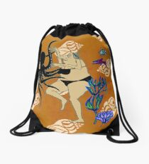 Wrestling with an Octopus... Sumo Sushi! Drawstring Bag