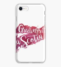 Nova Scotia Watercolor Map-Greetings from Nova Scotia Hand Lettering  iPhone Case/Skin