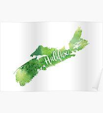 Nova Scotia Watercolor Map - Halifax Hand Lettering  Poster