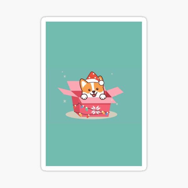 Corgi in a box Sticker