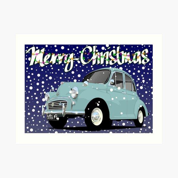 Retro Christmas Card Series Morris Minor Art Print