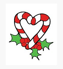 Christmas Candy Cane Heart Photographic Print