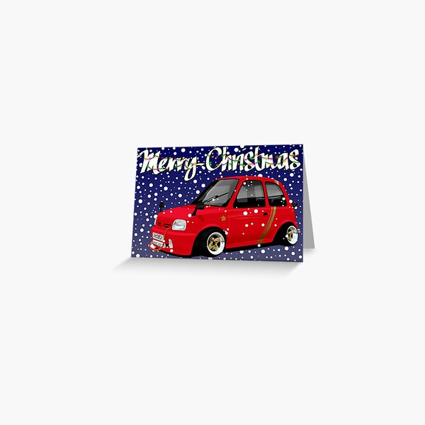Retro Christmas Card Series Nissan Micra K11 Greeting Card