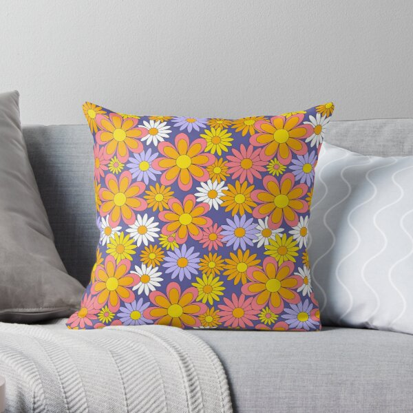 70s Flower Power Purple Orange Yellow Retro Daisy Throw Pillow