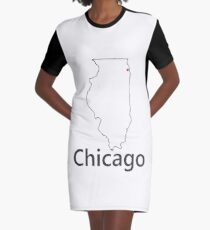 Chicago IL outline and dot Graphic T-Shirt Dress