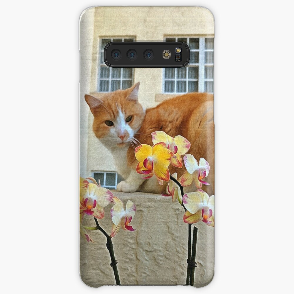 Cat Behind the Flowers Case & Skin for Samsung Galaxy