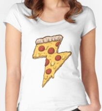 Thunder Cheesy Pizza Women's Fitted Scoop T-Shirt