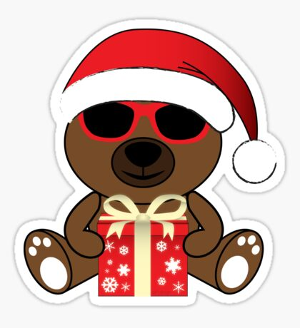 Cool Santa Bear with sunglasses and gift Sticker
