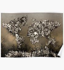 Floral world map posters redbubble world map poster gumiabroncs Images