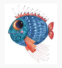 Blue funny fish watercolor illustration Photographic Print