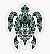 Teal Blue and Black Haida Spirit Sea Turtle Sticker