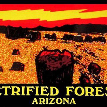 Petrified Forest Arizona Vintage etiqueta de viaje de hilda74