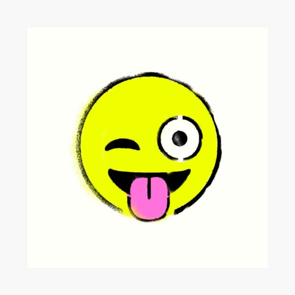 Green D4234 Winking Face with Tongue Emoji Canvas Wall Art