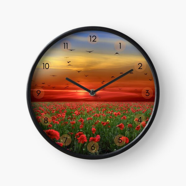 Beautiful sunset photograph with a field of red poppies and birds flying over. A bright image, with reds, greens and blues Clock