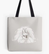 French Angora Rabbit - Chocolate Pearl with Grey Background | show rabbit champion natural fiber bunny arba breed wool Tote Bag