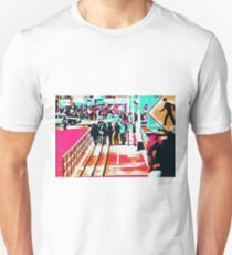 group of people walking with the wooden walkway T-Shirt