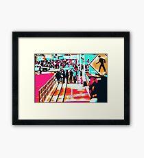 group of people walking with the wooden walkway Framed Print