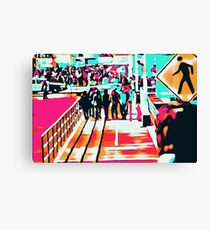 group of people walking with the wooden walkway Canvas Print