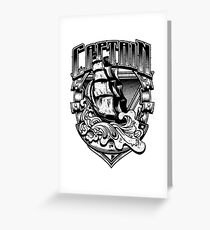 Nautical Captain Old Sailing Ship in Waves, Vintage Distressed Greeting Card