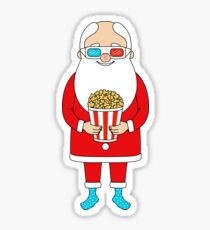 Santa Claus with popcorn and 3D glasses Sticker