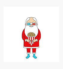 Santa Claus with popcorn and 3D glasses Photographic Print