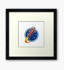 Pipe Wrench Rocket Blasting Off Orbit Space Circle Retro Framed Print