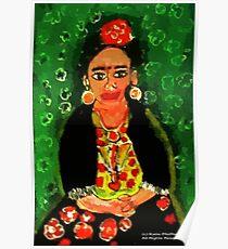 Mexican  Frida Folk Art Portrait Poster