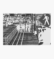 crowded on the wooden walkway in black and white Photographic Print