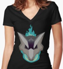 Ghost and Fire Women's Fitted V-Neck T-Shirt