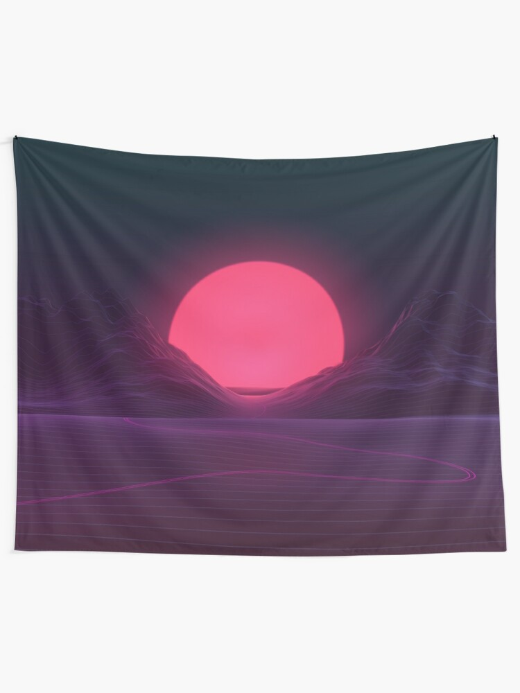 Alternate view of Neon Sunset Tapestry