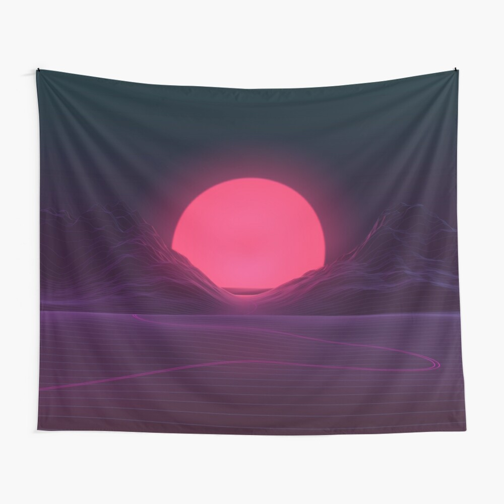 Neon Sunset Wall Tapestry