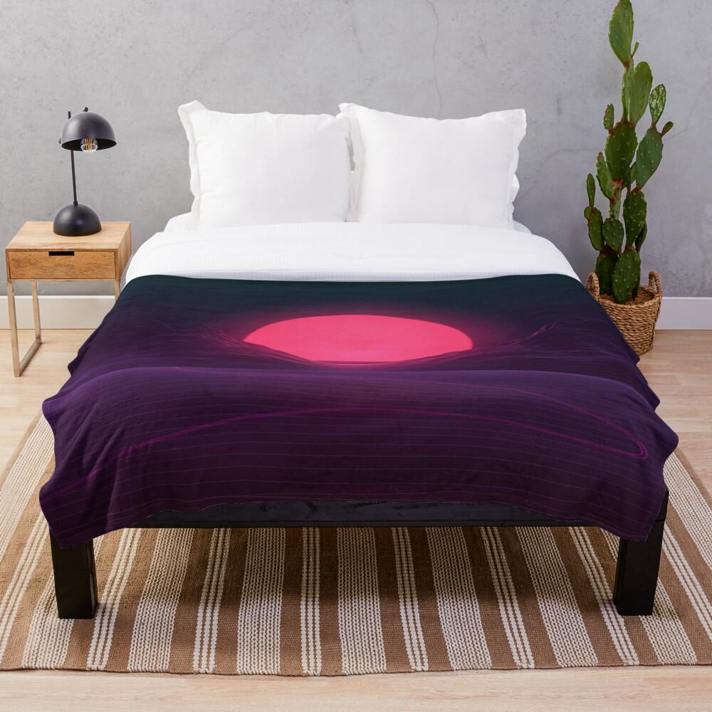 Neon Sunset Throw Blanket
