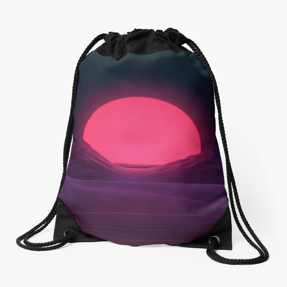Neon Sunset Drawstring Bag