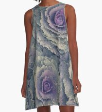 Purple and Green Ornamental Kale Plant A-Line Dress