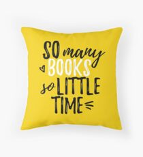 so many books (in yellow) Throw Pillow