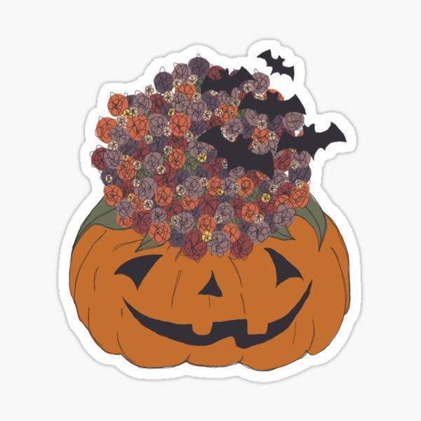 spooky pumpkin mums Sticker