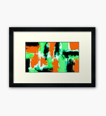 orange green and black painting abstract  Framed Print