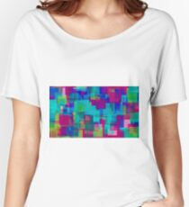 blue yellow pink green square pattern  Women's Relaxed Fit T-Shirt